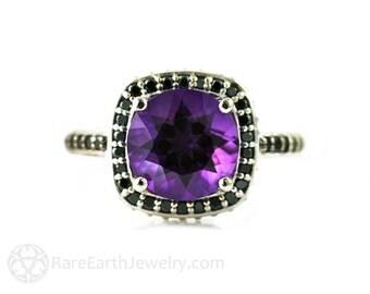 14K Amethyst Ring Black Diamond Halo Engagement Ring Gothic Steampunk Victorian Bridal Jewelry February Birthstone