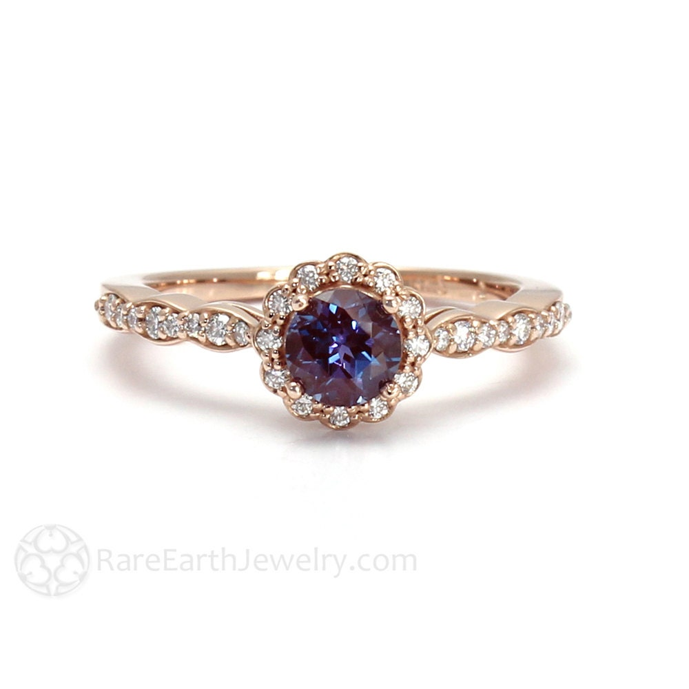 Alexandrite Ring Alexandrite Engagement Ring Diamond Halo June
