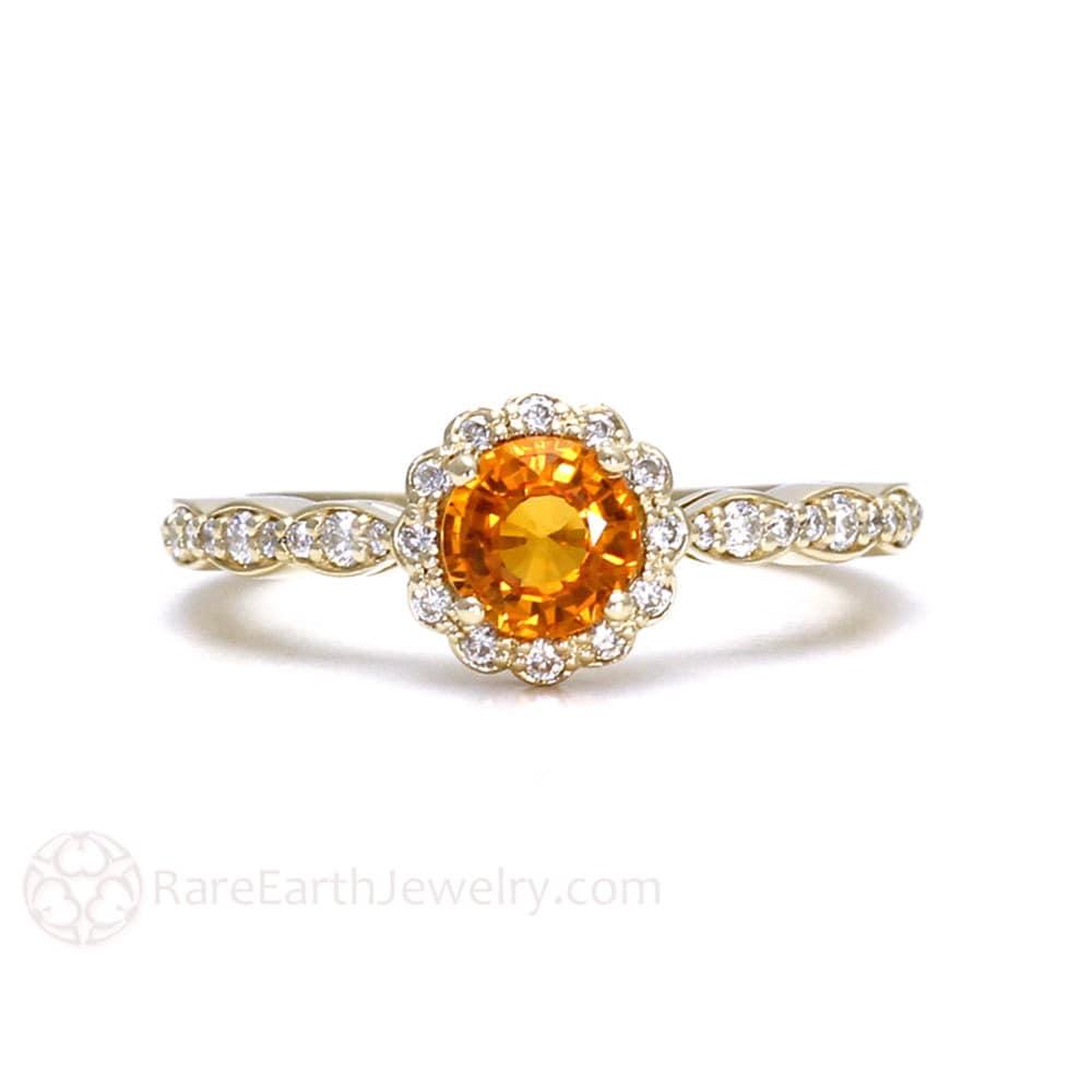 orange sapphire ring sapphire engagement ring 14k or 18k gold