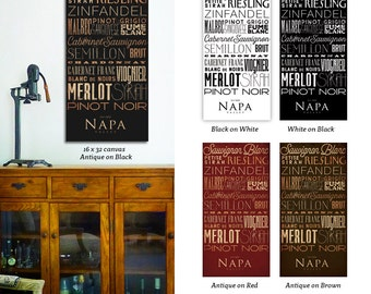 Napa Valley wine varietals typography art on gallery wrapped canvas by Stephen Fowler