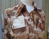 Vintage 70s Blouse Photo print Girl Faces nylon knit  Brown fitted style 1970s Disco shirt S M