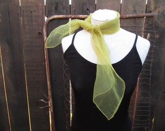 Sheer LIME Vintage Nylon scarf vintage 60s hair bow square 60s green scarf