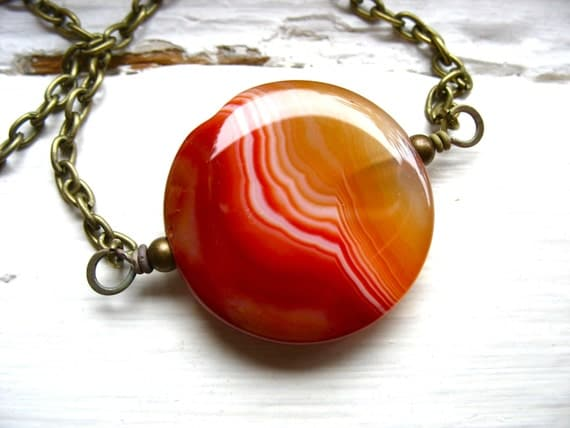 Orange Agate Necklace, Agate Stone Pendant Statement Strand Chain Necklace, Handmade Artisan Agate Jewelry
