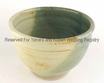 Yanara and Robert Wedding Registry - Pair of Soup / Cereal Bowls - Soft Yellow / Pale Green  - Reserved Listing