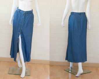 90s Vintage Medium Denim Blue LIZ WEAR Jean Button Midi Skirt S/M