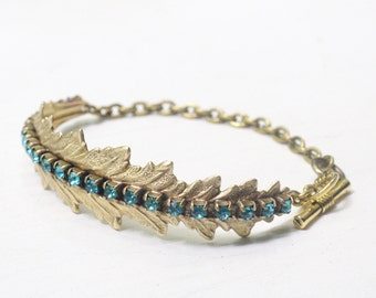 Crystal leaf bracelet aqua blue clear crystal rhinestone vintage style brass bridal wedding jewelry