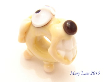 Smiling Dog Glaslight Artisan Handmade Lampwork Glass Murano Critter Bead SRA Puppy