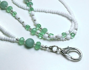 Beaded Lanyard Badge Holder,  Amazonite Stone and Glass Beads in Greens and White, Lanyard Necklace