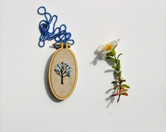 Little Tree necklace I - mixed media wearable art