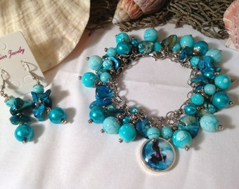 Mermaid Blue Ocean Fantasy Seashell Cha Cha Bracelet w/ Matching Earrings