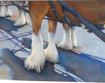 original art  drawing 11x14 team clydsdale horses budweiser team