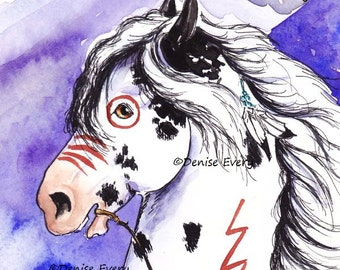 Indian War Horse Pony Print Black Sabino Pinto ACEO Western Equine Art Horse Lover Horse Gift Artwork by Denise Every