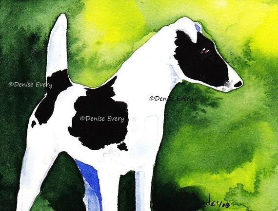 Fox Terrier Art Print Black Spotted Smooth Fox Terrier Abstract Dog Art Terrier Lover Terrier Gift Foxie Foxy Dog Art Print Denise Every