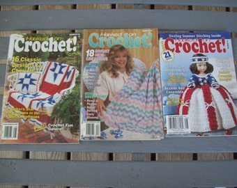 Set of 3,Hooked On Crochet,Patterns,Crafts,Quilting,Jewelry,Crochet,Plastic Canvas,1990,1993,1999,Issues 76,22,38,Supplies