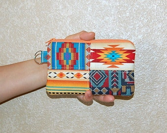Aztec Patchwork - iPhone 6s, iPhone 6, iPhone 5, iPhone 4, Samsung Galaxy S5/S6 - Cell Phone Gadget Zipper Pouch / Coin Purse