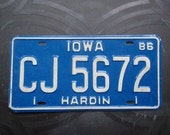Vintage 1980s Iowa License Plate - Blue Embossed Plate - FREE SHIPPING