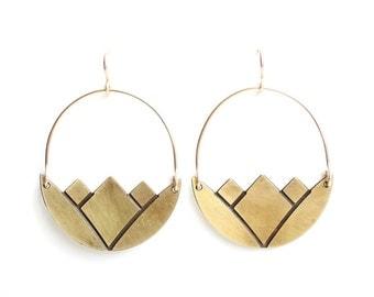 Geometric Minimalist Lotus Earrings - Brass, Gold Fill or Sterling Silver