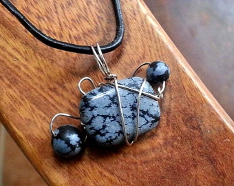 sterling silver and black snowflake obsidian handmade pendant necklace one of a kind