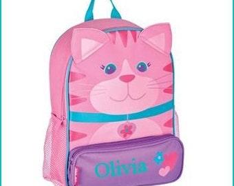 Personalized Cat, Kitten Sidekick, School Book bag, Toddler Backpack, Diaper Bag, Children's Monogramed Backpack, Girl Backpack,School Bag