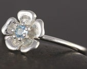 Natural Aquamarine flower stacking ring in sterling silver - March Birthstone - Made to your size
