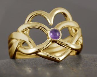 Heart infinity puzzle ring in solid gold with natural amethyst cabochon - 10kt 14kt 18kt