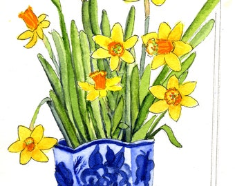 ACEO Limited Edition 1/25- Daffodils Blue and White China Vase Original Watercolor Gift Collection Artist Trading Cards