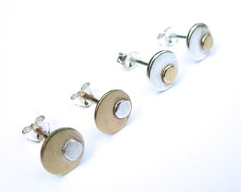 Mixed Metal Earrings, Silver and Brass Dot Studs, Mismatched Metal Stud Earrings