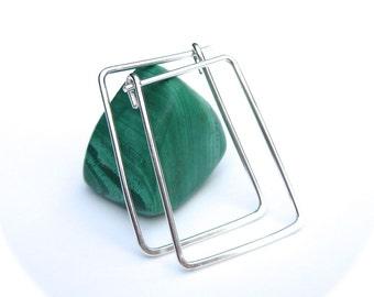 Silver Rectangle Hoop Earrings- Geometric Hoops
