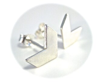 Chevron Earrings, Silver Chevron Studs, Trendy Gift, Ready to Ship