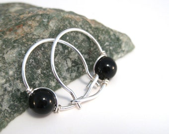 Black Onyx Hoop Earrings with Sterling and Black Onyx