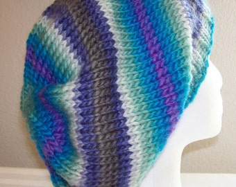 Wool Slouch Hat - Slouchy Knit Beanie - Knitted Dreadlock Tam - Hand Knit Toque - March Breeze