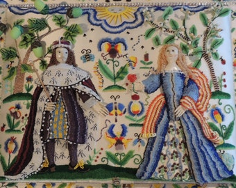 17th c Repro Stumpwork King & Queen Set with Pattern