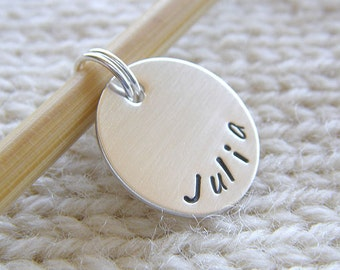 "Personalized Knitting / Crochet Stitch Markers - Hand Stamped Sterling Silver Markers - 5/8"" Disc in 6 Styles - Knit Notions and Gifts"