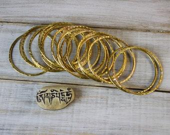 Thai Hand Hammered Brass Bangles