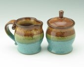 Pottery Sugar and Creamer Set Ready to Ship, 14 oz Lidded Jar and Small Pitcher in Honey Brown and Jewel Blue, Wheel Thrown Table Accesories
