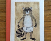 Racoon Animals in Underpants A6 Greeting Card