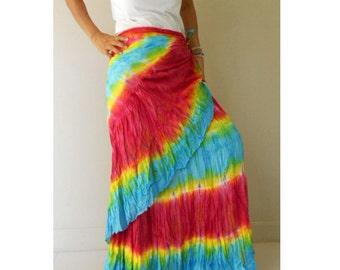 Red Blue Tie Dye Cotton Maxi Skirt , Hippie Tie Dye Ruffle Long Wrap Skirt S-L (TD 5)