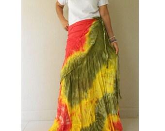 Boho Hippie Gypsy Tie Dye Cotton Long Ruffle Wrap Skirt Funky Style S-L (TD 7)