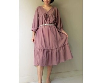 Tulip Pink  Soft & Sheer Cotton Boho Loose V-Neck Tunic Dress S-L (TU08)