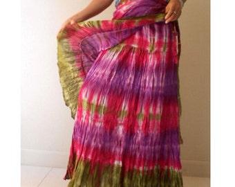 New Tropical Purple Green Tie Dye Cotton Boho Hippie Gypsy Long Ruffle Circle Wrap Skirt S-L (TD 24)