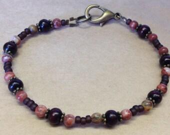 Handcrafted Rainbow Agate Gemstone And Sandalwood Bead Bracelet - Earthy - Free U S A Shipping