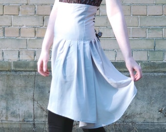 Ivory skirt with lace up detail, wedding skirt chiffon bridesmaids skirt, lace up skirt, corset skirt, white skirt, asymmetrical skirt, MASQ
