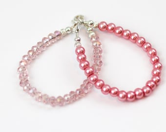 2 pack--Petite Pink Pearl  & Crystal Sterling Silver Wired Bracelet double pack-great to wear alone or wear together