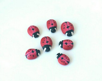 Ladybug Beads, Polymer Clay Ladybird Beads, Red Coccinelle, 7 pieces