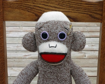 Sock Monkey Doll - Handmade - Traditional Sock Monkey with One of a Kind Look