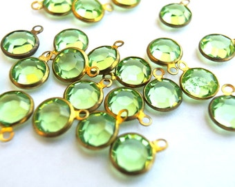 6 Vintage dangling beads Swarovski light green crystal brass channel beads 1 loops made in Austria