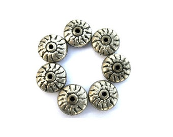 10 Ethnic style metal beads silver color with black, vintage beads 19mmx9mm