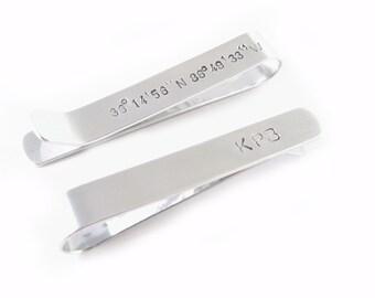 Initials Latitude Longitude Tie Bar, Coordinate Tie Clip, Personalized Tie Bar, Groomsman Tie Bar, Wedding tie clip, skinny tie bar, GPS