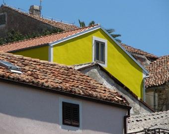 Croatia Photography, Europe, European, Rooftops, Coastal Living, Yellow