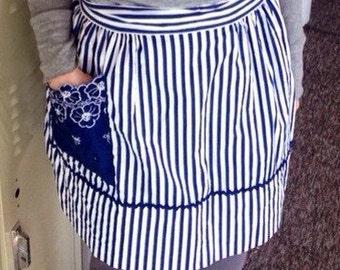 Vintage nautical blue white stripe blue floral reversible cotton apron